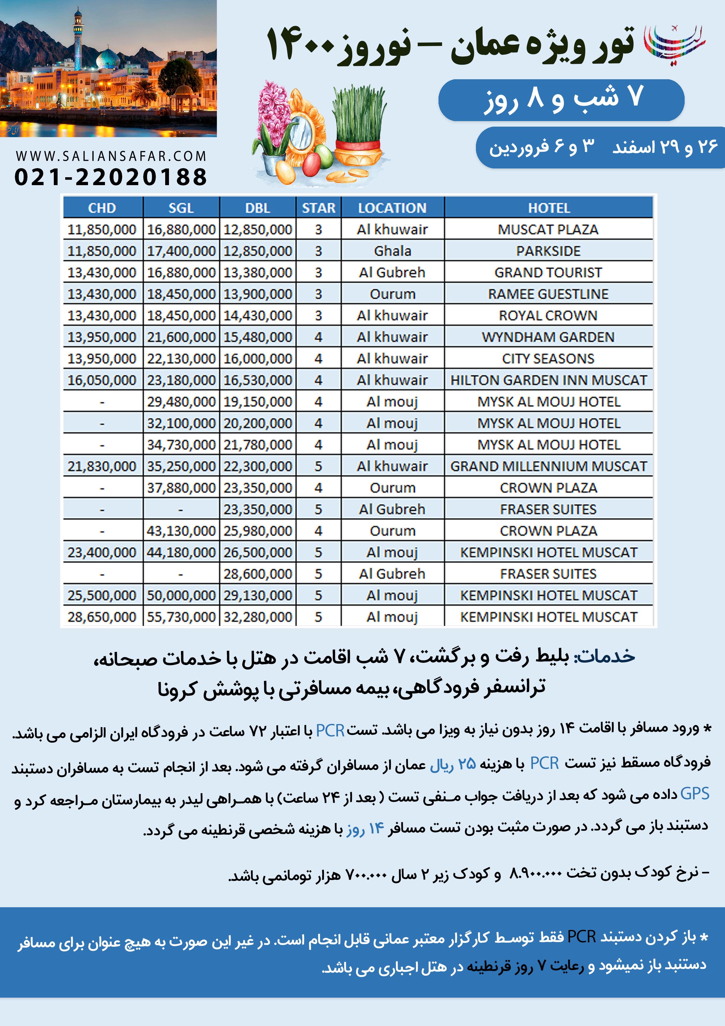تور عمان ویژه نوروز 1400